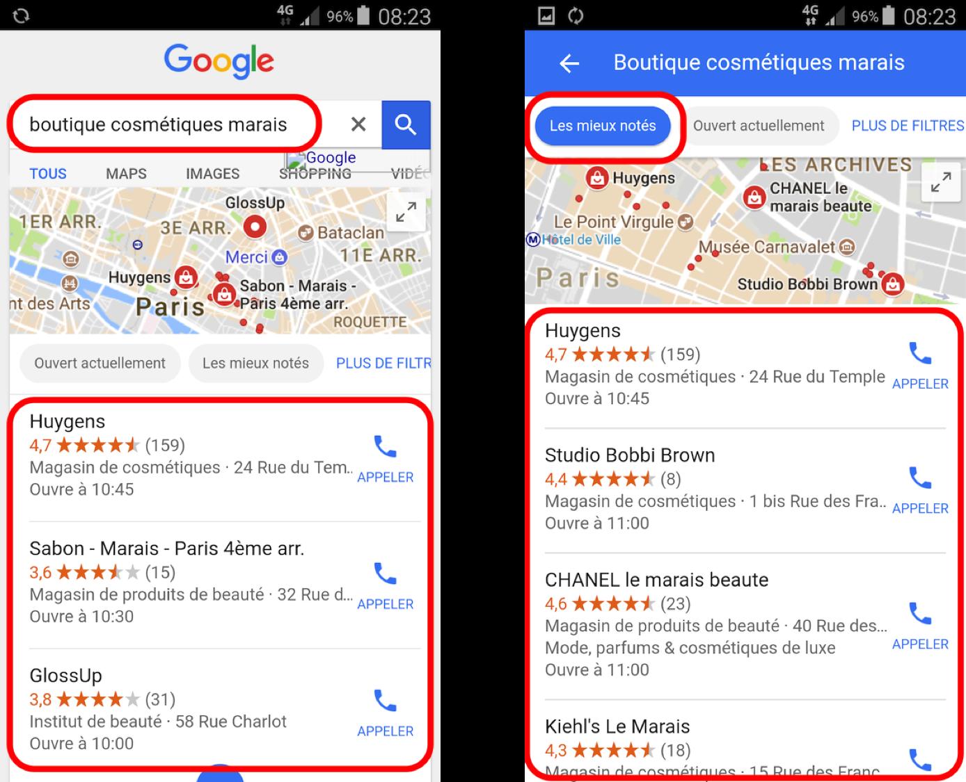 Exemple de recherche locale sur Google depuis un mobile