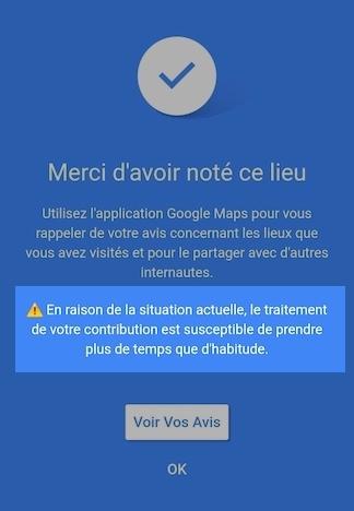 Message avis Google Covid-19